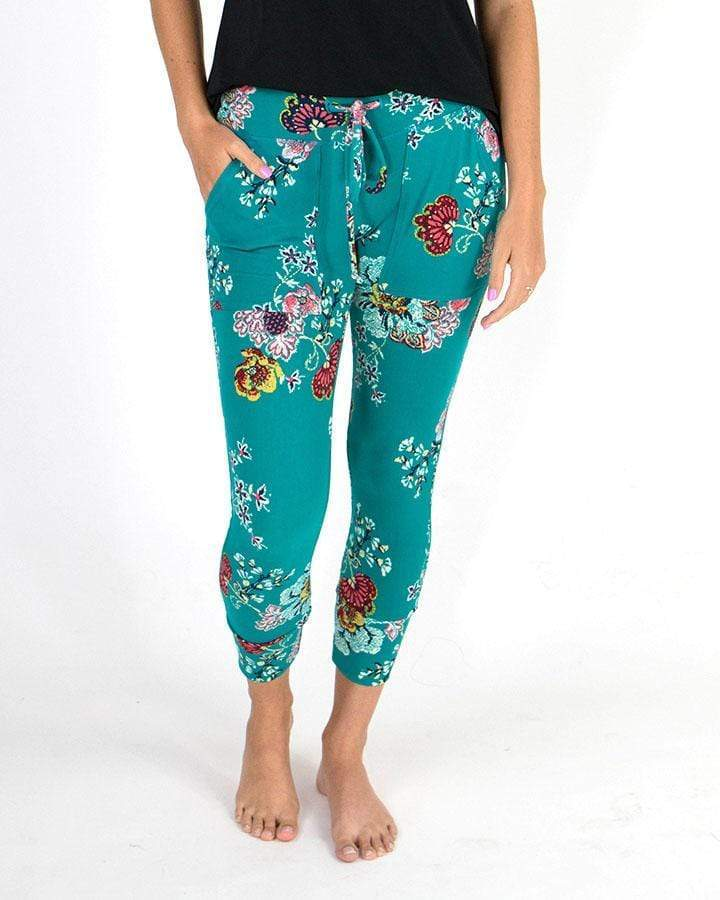 ***PRE-ORDER*** Grace & Lace Summer Weight Cropped Live-In Loungers - Aqua Floral