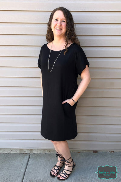 Tee Shirt Dress With Pockets - Black Dresses & Skirts