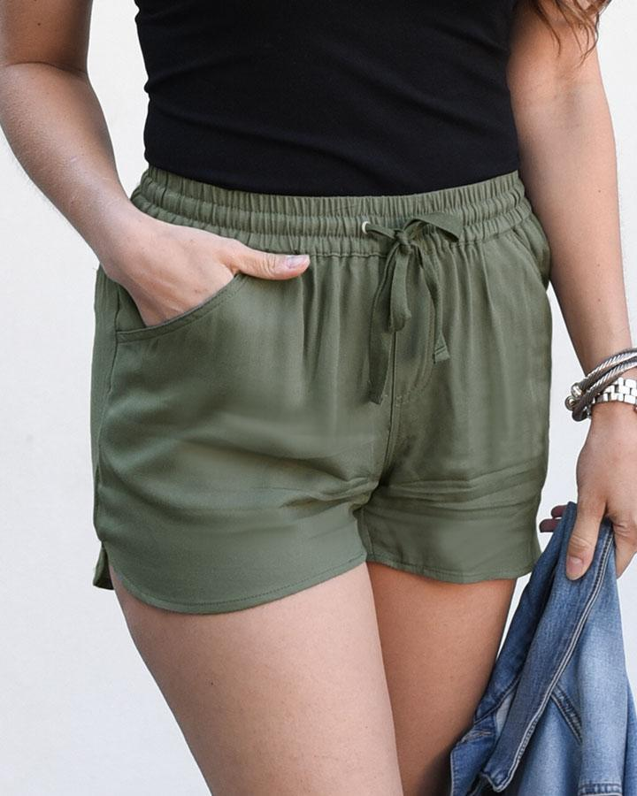 Grace and Lace Twill Summer Shorts - Olive