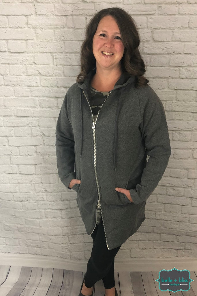 Two Way Zip Long Hoodie - Charcoal (Regular + Plus) Tops & Sweaters
