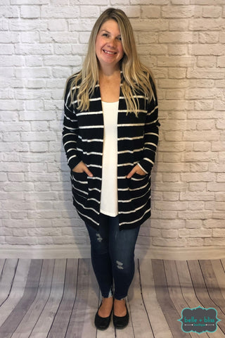 Ultra Soft Cardigan With Pockets - Black And White Tops & Sweaters