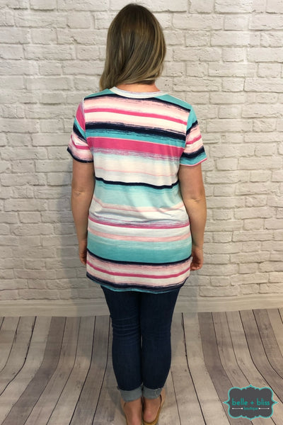 V-Neck Striped Tee - Pink And Mint B+B Crew