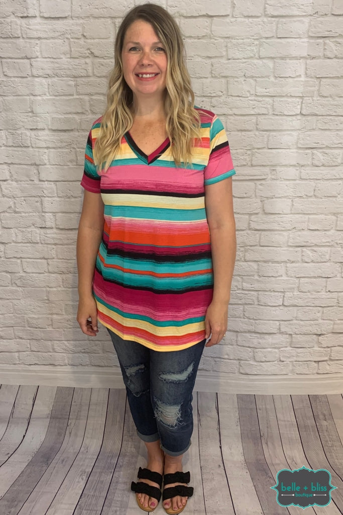 V-Neck Striped Tee - Teal Pink And Yellow B+B Crew