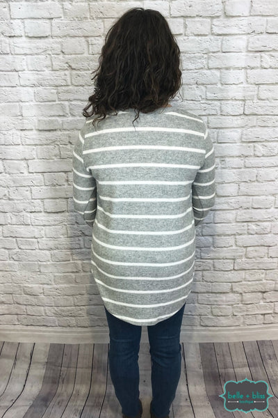 V-Neck Striped Tunic - Grey/ivory B+B Crew
