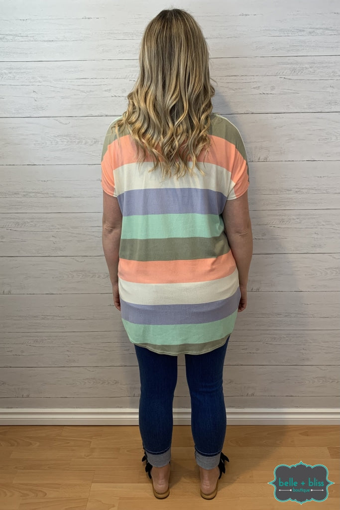 V-Neck Striped Tunic - Peach Mint Periwinkle Tops & Sweaters
