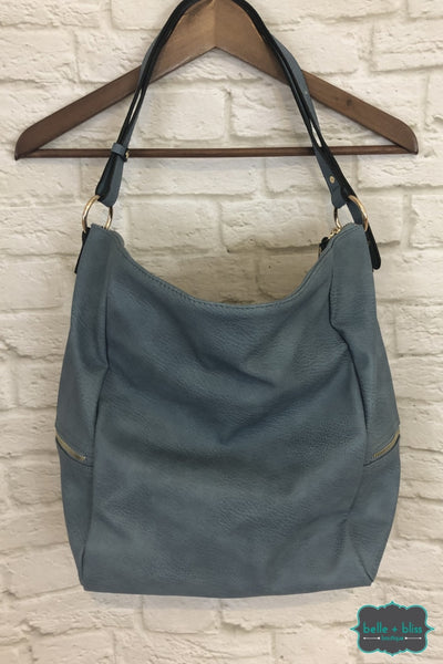 Vegan Leather Tote Bag - Blue B+B Crew