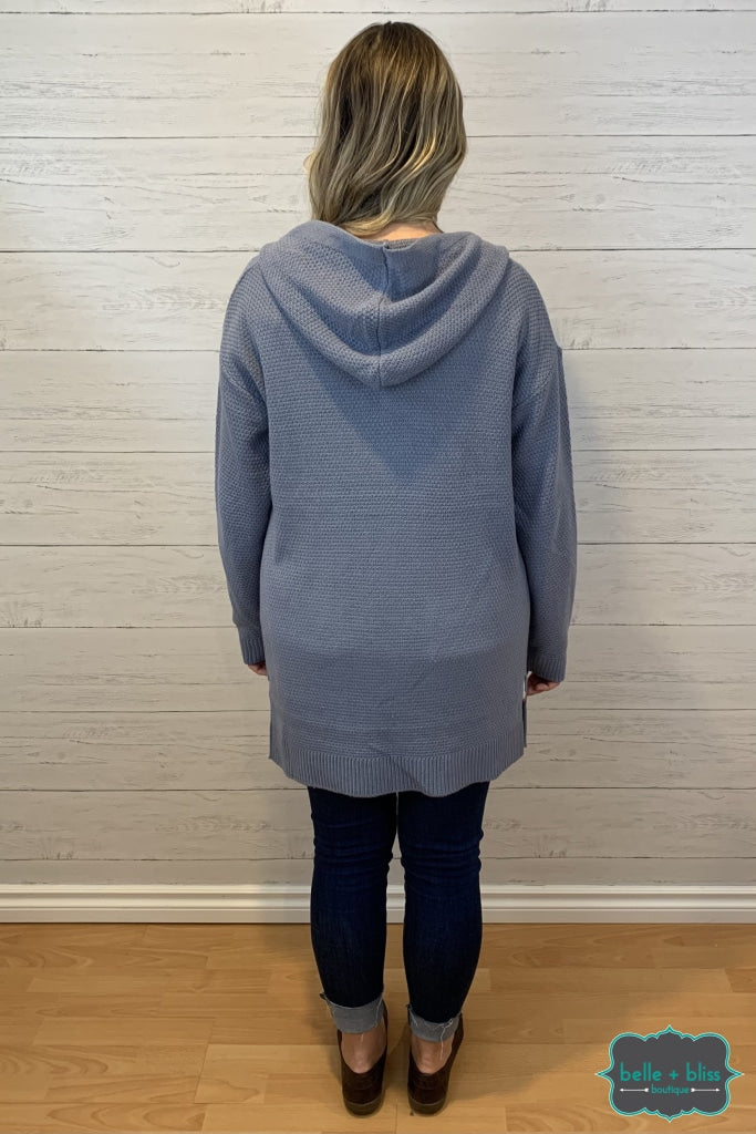 Waffle Cardigan With Pockets And Hood - Soft Blue Tops & Sweaters
