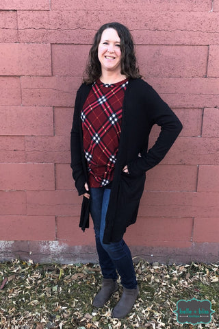 Waffle Cardigan With Thumbholes - Black Tops & Sweaters