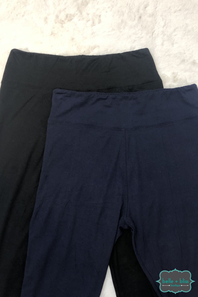 Wide Band Capri Leggings - Navy Regular And Plus Bottoms