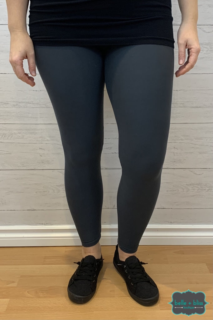Wide Band Leggings - Charcoal Bottoms