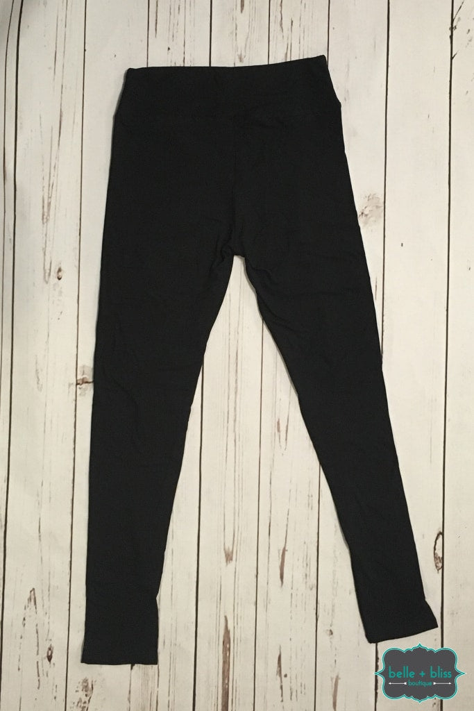 Wide Band Solid Leggings - Black (Size Regular + Plus)