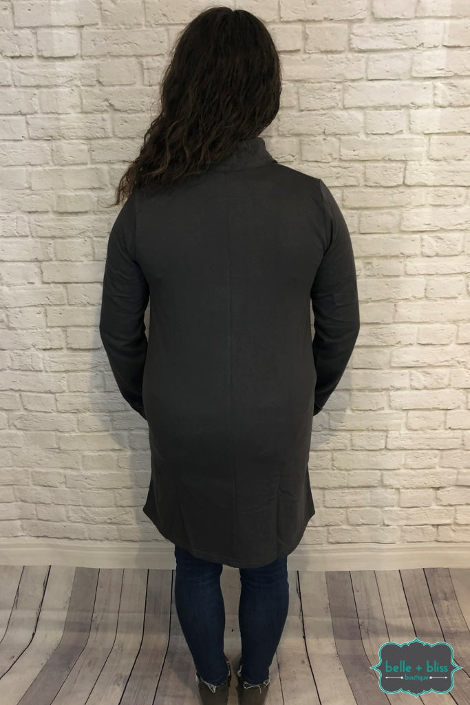 Wrap Jacket With Buttons - Charcoal Tops & Sweaters