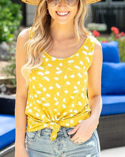 ***PRE-ORDER*** Grace and Lace Perfect Pocket Tank - Yellow Floral