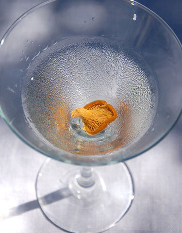 Chanterelle Martini Cocktail Recipe made with Wine Forest Wild Food Pickled Cocktail Chanterelles