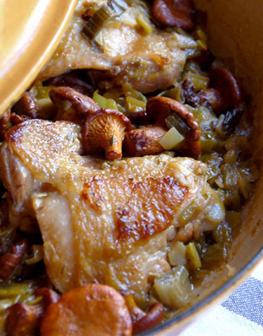 Braised Chicken with Chanterelles and Leeks Recipe