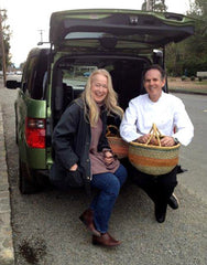 Connie Green delivering wild mushrooms to Thomas Keller at The French Laundry in Yountville, California