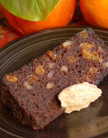 Steamed Persimmon Pudding with Candy Cap Hard Sauce