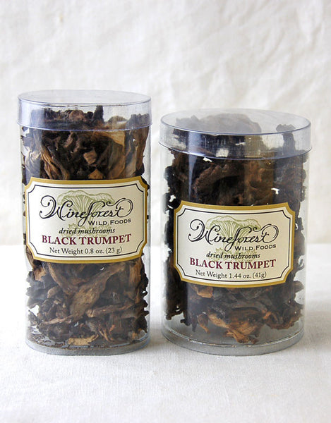 Wine Forest premium dried wild black trumpet mushrooms in small and large resealable containers