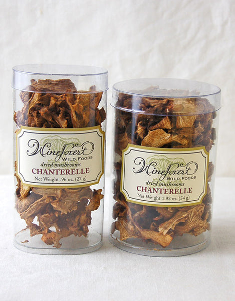 Wine Forest premium dried wild chanterelle mushrooms in small and large resealable containers