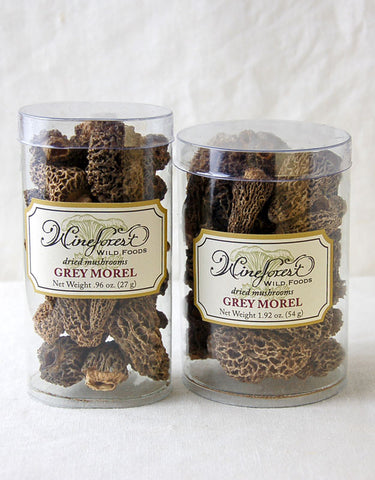 Wine Forest premium dried wild grey morel mushrooms in small and large resealable containers