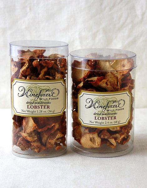 Wine Forest premium dried wild lobster mushrooms in small and large resealable containers