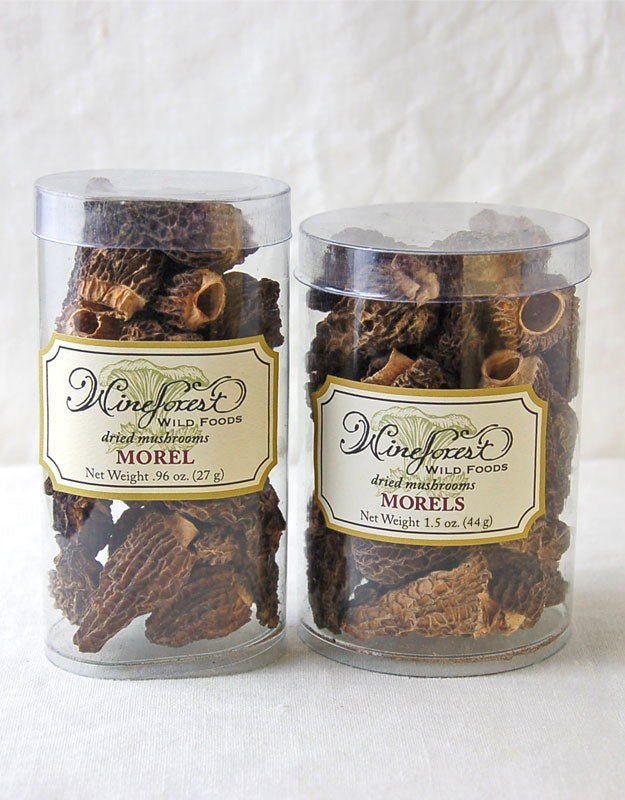 Wine Forest premium dried wild morel mushrooms in small and large resealable containers