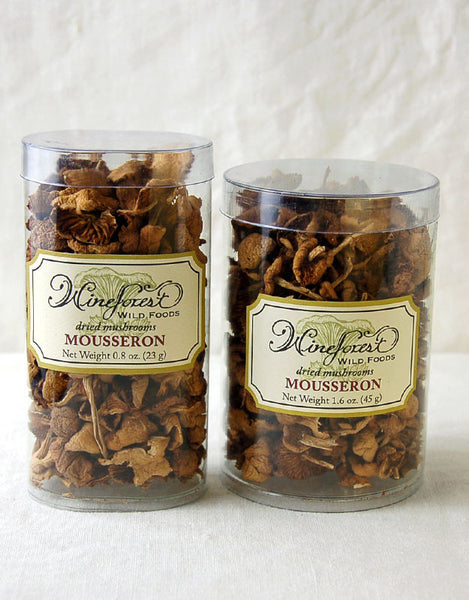 "Wine Forest premium dried wild mousseron mushrooms (""Fairy Rings"") in small and large resealable containers"