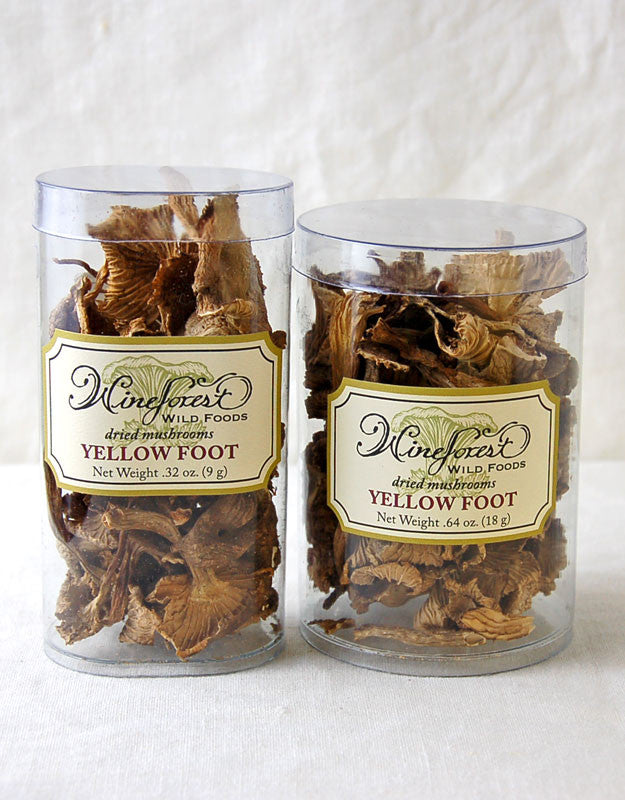 Wine Forest premium dried wild yellow foot mushrooms in small and large resealable containers