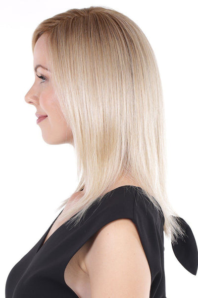 Belle Tress Remy Human Hair Lace Front Mono Top 14' - Honey Chai Root - side