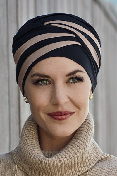 Christine Headwear - Shanti Turban Black Brown (0395)