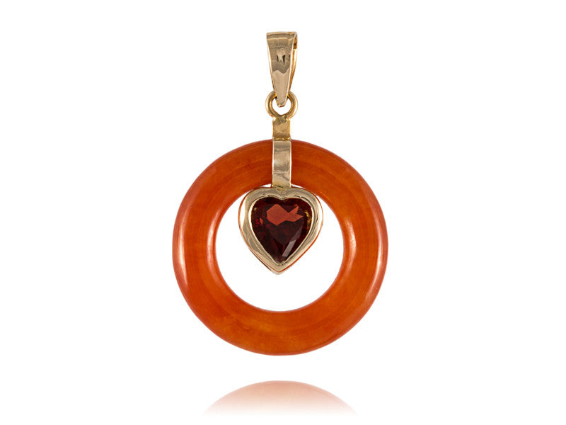 Red jade round pendant with garnet heart 14k gold shiny rocks red jade round pendant with garnet heart 14k gold mozeypictures