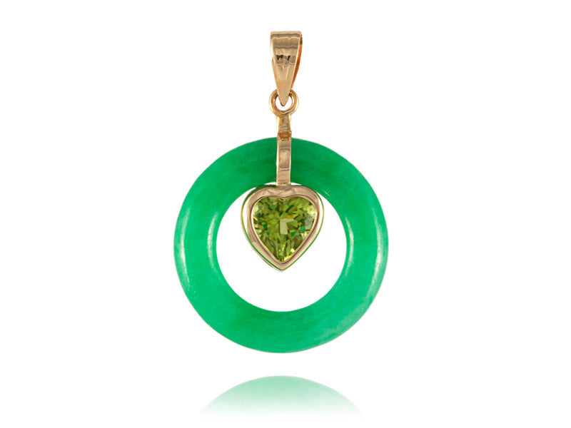 Green jade round pendant with peridot heart 14k gold shiny rocks green jade round pendant with peridot heart 14k gold mozeypictures Image collections