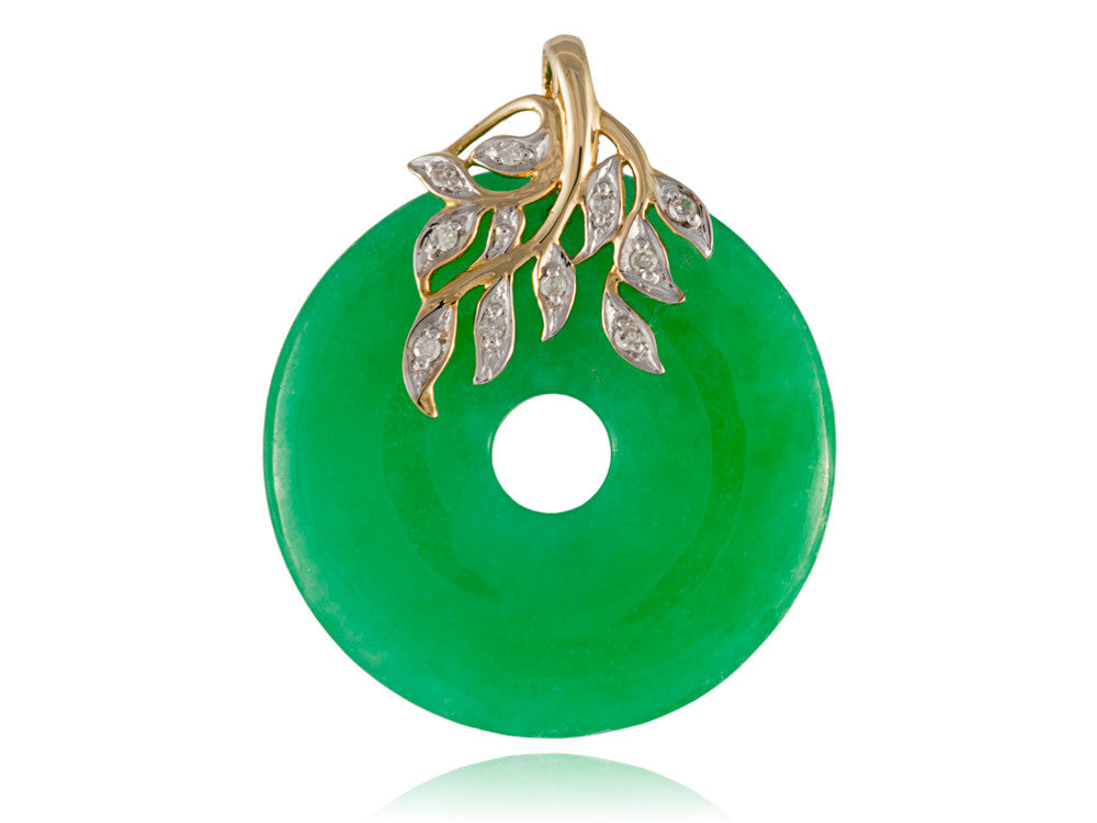 Green jade leafy disc pendant with diamonds 14k gold shiny rocks green jade leafy disc pendant with diamonds 14k gold aloadofball Image collections