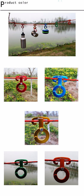 5PCS Aluminum Rope Hanger Multifunction Outdoor Camping Tent Tool Paracord Rope Buckle Travel Kit Survival Buckle