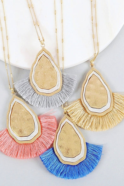 Stone Necklace w/ Colorful Fringe