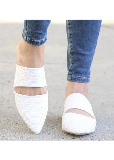 The Kylie White Textured Mule