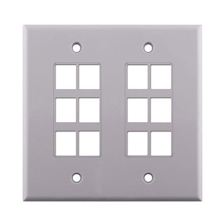 Dual Gang 12-port Keystone Wall Plate