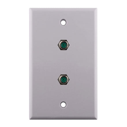2 X F-81 RG6 Connector Single Gang Wall Plate