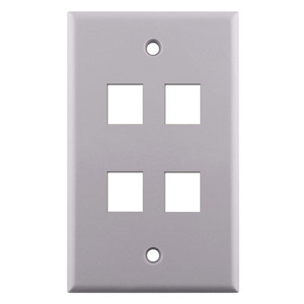 Single Gang 4-port Keystone Wall Plate