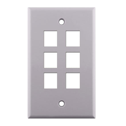Single Gang 6-port Keystone Wall Plate