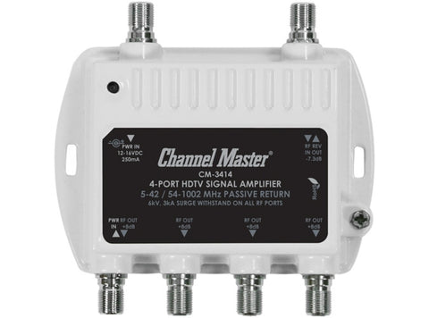 Channel Master CM3414 - Ultra Mini 4 Way 8dB Distribution Amp