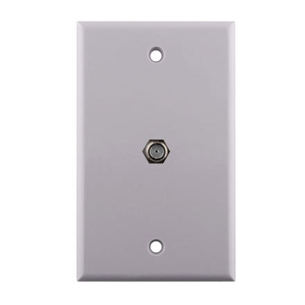 F-81 RG6 Connector Single Gang Wall Plate