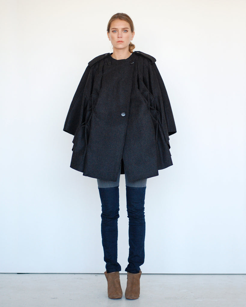 Pleated Cape in Black - Founders & Followers - Risto - 1