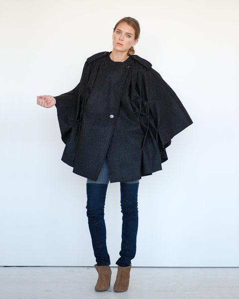 Pleated Cape in Black - Founders & Followers - Risto - 2