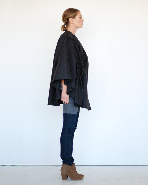 Pleated Cape in Grey - Founders & Followers - Risto - 3