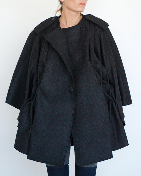 Pleated Cape in Black - Founders & Followers - Risto - 5