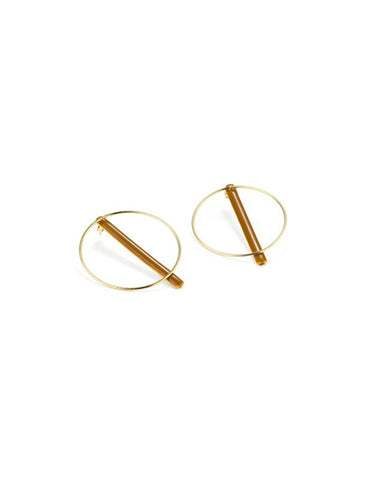 Bi-position circle and bar earrings in ochre