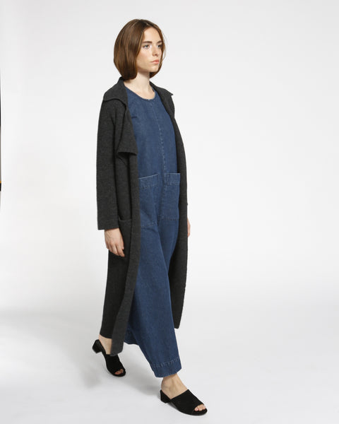 Chunky Ribbed Sweater Coat in Charcoal - Founders & Followers - Achro - 4