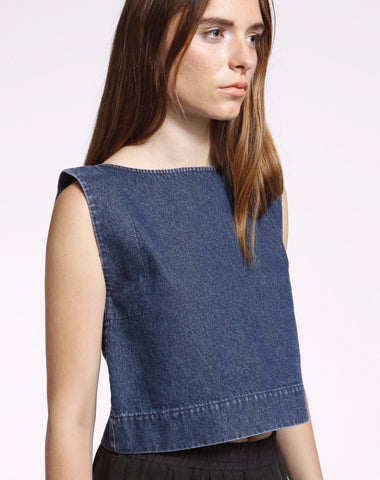 kate top in denim - Founders & Followers - Ilana Kohn - 1