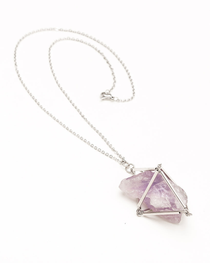 Brazilian Amethyst Cage Necklace - Founders & Followers - Casa del Mano - 1